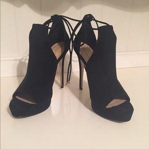Suede tie up peep toe heeled bootie-Aldo